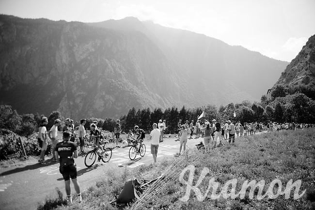 Nicolas Roche (IRL/SKY) & Wout Poels (NLD/SKY) on top of the Lacets de Montvernier (2C/782m/3.4km, 8.2%)<br /> <br /> stage 18: Gap - St-Jean-de-Maurienne (187km)<br /> 2015 Tour de France