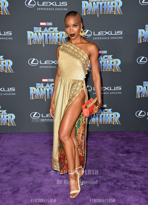 """Myeeuh Marija Abney at the world premiere for """"Black Panther"""" at the Dolby Theatre, Hollywood, USA 29 Jan. 2018<br /> Picture: Paul Smith/Featureflash/SilverHub 0208 004 5359 sales@silverhubmedia.com"""