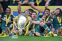 Ben Youngs and the rest of the Leicester Tigers team celebrate with the Aviva Premiership trophy. Aviva Premiership Final, between Leicester Tigers and Northampton Saints on May 25, 2013 at Twickenham Stadium in London, England. Photo by: Patrick Khachfe / Onside Images