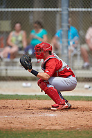 St. Louis Cardinals catcher Jesse Jenner (43) during a Minor League Spring Training game against the New York Mets on March 31, 2016 at Roger Dean Sports Complex in Jupiter, Florida.  (Mike Janes/Four Seam Images)