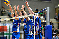 GRONINGEN - Volleybal, Lycurgus - Taurus, Alfa College, Eredivisie, seizoen 2017-2018, 04-11-2017, blok Lycurgus