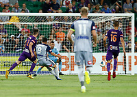 1st February 2020; HBF Park, Perth, Western Australia, Australia; A League Football, Perth Glory versus Melbourne Victory; Andrew Nabbout of Melbourne Victory scores in the 58th minute to make the score 2-1 to Melbourne
