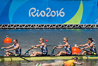 Rio de Janeiro. BRAZIL.   GBR LM4-. Bow, Chris BARTLEY, Mark ALDRED, Jonno CLEGG and Peter CHAMBERS,during their heat at the 2016 Olympic Rowing Regatta. Lagoa Stadium,<br /> Copacabana,  &ldquo;Olympic Summer Games&rdquo;<br /> Rodrigo de Freitas Lagoon, Lagoa. Local    Saturday  06/08/2016 <br /> <br /> [Mandatory Credit; Peter SPURRIER/Intersport Images]