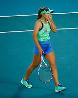 1st February 2020; Melbourne Park, Melbourne, Victoria, Australia; Australian Open Tennis, Day 13, ladies singles final; Garbine Muguruza of Spain celebrates after her finals match win against Sofia Kenin of USA
