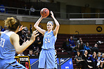 GRAND RAPIDS, MI - MARCH 18: Michela North (24) of Tufts University looks for an open teammate during the Division III Women's Basketball Championship held at Van Noord Arena on March 18, 2017 in Grand Rapids, Michigan. Amherst defeated 52-29 for the national title. (Photo by Brady Kenniston/NCAA Photos via Getty Images)