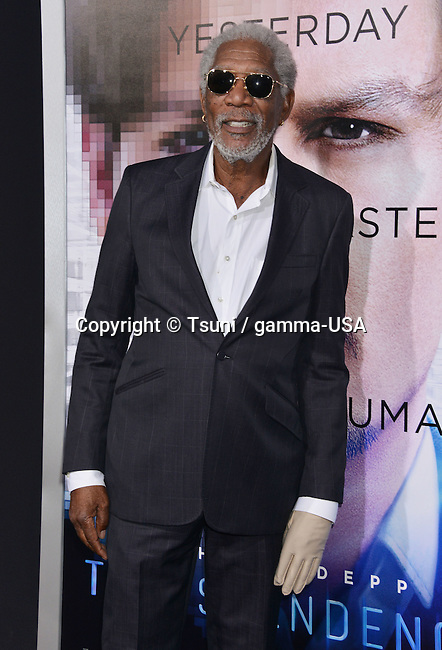 Morgan Freeman at the Transcendence Premiere at the Regency Village Theatre in Los Angeles.