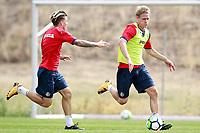 Getafe CF's Johannes Van den Bergh (r) and Alvaro Jimenez during training session. August 1,2017.(ALTERPHOTOS/Acero) /NortePhoto.com