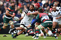 Chris Vui of Bristol Bears offloads the ball. Gallagher Premiership match, between Leicester Tigers and Bristol Bears on April 27, 2019 at Welford Road in Leicester, England. Photo by: Patrick Khachfe / JMP