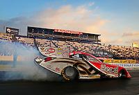 Feb 7, 2014; Pomona, CA, USA; NHRA funny car driver Chad Head during qualifying for the Winternationals at Auto Club Raceway at Pomona. Mandatory Credit: Mark J. Rebilas-