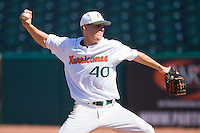 Starting pitcher Eric Whaley #40 of the Miami Hurricanes in action against the Florida State Seminoles at the 2010 ACC Baseball Tournament at NewBridge Bank Park May 26, 2010, in Greensboro, North Carolina.  The Hurricanes defeated the Seminoles 9-3.  Photo by Brian Westerholt / Four Seam Images