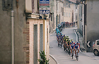 peloton led by Team Groupama-FDJ rolling through town<br /> <br /> 99th Milano - Torino 2018 (ITA)<br /> from Magenta to Superga: 200km