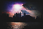 Dark image of New York City's Skyline with the sun above the tall buildings. Textured.
