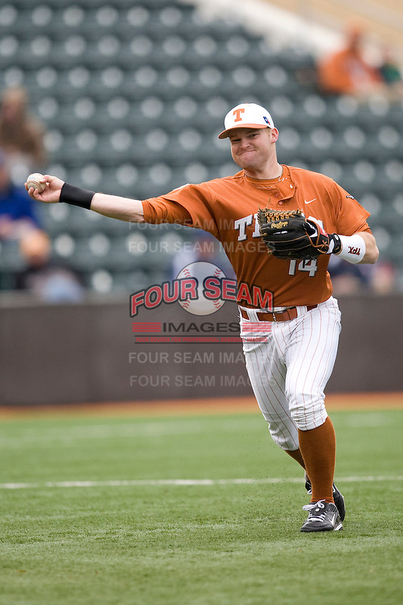 Kevin Lusson of the Texas Lonhorns against the Stanford Cardinal at  UFCU Disch-Falk Field in Austin, Texas on Friday February 26th, 2100.  (Photo by Andrew Woolley / Four Seam Images)