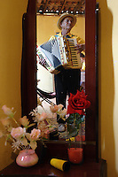 Sanfoneiro, sanfona player, kind of small accordion, Itacarambi, Minas Gerais State, countryside Brasil.