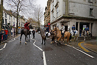 Pictured: The Hunt gathers in Wind Street, Swansea. Thursday 26 December 2019<br /> Re: Guitarist Brian May of Queen has joined the Boxing Day Hunt in Wind Street, Swansea, Wales, UK.