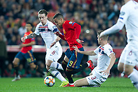 Spain's Rodrigo Moreno andSpain's Rodrigo Moreno andSpain's Rodrigo Moreno and Norway's Stefan Johansen, Norway's Kristoffer Ajer  during the qualifying match for Euro 2020 on 23th March, 2019 in Valencia, Spain. (ALTERPHOTOS/Alconada)<br /> Valencia 23-03-2019 <br /> Football Qualifying match Euro2020<br /> Spain Vs Norway <br /> foto Alterphotos/Insidefoto <br /> ITALY ONLY