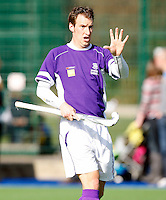 Ben Allberry of Sevenoaks makes a gesture during the England Hockey League Mens Semi-Final Cup game between Hampstead & Westminster and Sevenoaks at the Paddington Recreation Ground, Maida Vale on Sun March 21, 2010