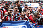 Sheffield United's players celebrate winning League One during the English League One match at Bramall Lane Stadium, Sheffield. Picture date: April 30th, 2017. Pic credit should read: Jamie Tyerman/Sportimage