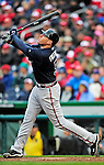 31 March 2011: Atlanta Braves first baseman Freddie Freeman at bat on Opening Day against the Washington Nationals at Nationals Park in Washington, District of Columbia. The Braves shut out the Nationals 2-0 to start off the 2011 Major League Baseball season. Mandatory Credit: Ed Wolfstein Photo