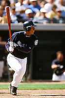 Carlos Guillen of the Seattle Mariners during a Spring Training game  at the Peoria Sports Complex circa 1999 in Anaheim, California. (Larry Goren/Four Seam Images)