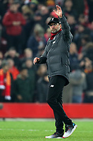 5th November 2019; Anfield, Liverpool, Merseyside, England; UEFA Champions League Football, Liverpool versus Genk; Liverpool manager Jurgen Klopp salutes fans on the Kop after the match ends with a 2-1 Liverpool win - Editorial Use