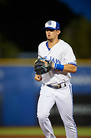 Dunedin Blue Jays second baseman Cavan Biggio (4) jogs back to the dugout during a game against the St. Lucie Mets on April 19, 2017 at Florida Auto Exchange Stadium in Dunedin, Florida.  Dunedin defeated St. Lucie 9-1.  (Mike Janes/Four Seam Images)