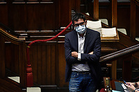 The Italian deputy Nicola Fratoianni wearing a face mask during the information about the next European Council at the Chamber of Deputies. Rome (Italy), July 15th 2020<br /> Foto Pool Paolo Tre Insidefoto