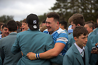 Fans celebrate with Silverstream players after the Weltec Premiership Wellington secondary schools 1st XV rugby final between St Patrick's College Silverstream and Wellington College at Porirua Park in Wellington, New Zealand on Sunday, 20 August 2017. Photo: Dave Lintott / lintottphoto.co.nz