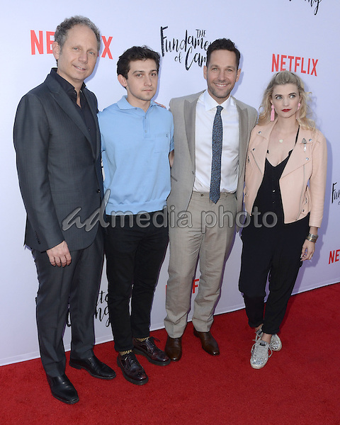 "23 June 2016 - Hollywood. Rob Burnett, Craig Roberts, Paul Rudd, Megan Ferguson. Arrivals for the Los Angeles special screening of Netflix's ""The Fundamentals Of Caring"" held at ArcLight Hollywood. Photo Credit: Birdie Thompson/AdMedia"