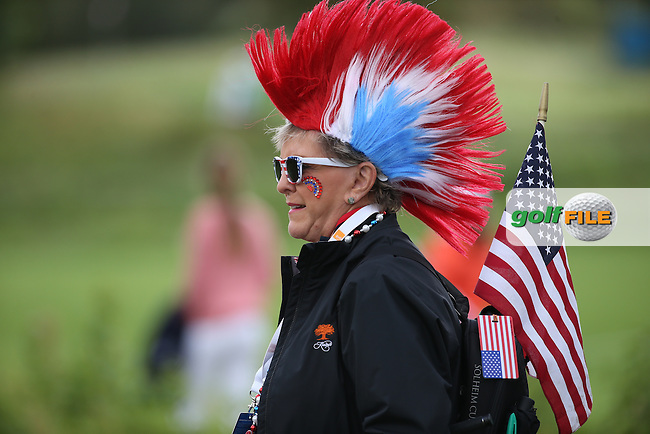 American spectator during Saturday morning's Foursomes, at The Solheim Cup 2015 played at Golf Club St. Leon-Rot, Mannheim, Germany.  19/09/2015. Picture: Golffile | David Lloyd<br /> <br /> All photos usage must carry mandatory copyright credit (&copy; Golffile | David Lloyd)