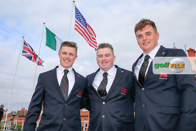 Conor Purcell  (GB&I) Caolan Rafferty  (GB&I) and James Sugrue (GB&I) during the opening ceremony at the Walker Cup, Royal Liverpool Golf CLub, Hoylake, Cheshire, England. 06/09/2019.<br /> Picture Fran Caffrey / Golffile.ie<br /> <br /> All photo usage must carry mandatory copyright credit (© Golffile | Fran Caffrey)
