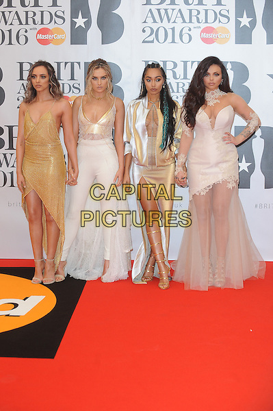LONDON, ENGLAND - FEBRUARY 24: Jade Thirlwall, Perrie Edwards, Leigh-Anne Pinnock and Jesy Nelson of Little Mix attend the Brit Awards 2016 at The O2 Arena in London on February 24, 2016 in London, England.<br /> CAP/BEL<br /> &copy;Tom Belcher/Capital Pictures