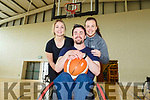 Wazp Basketball Tralee playing wheelchair basketball in John Mitchel's Sports Complex on Friday. <br /> L to r: Jenny McAuliffe, Johnny Quaid and Clare Moore.