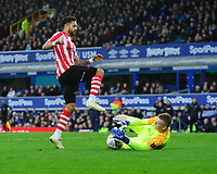 Everton's Jordan Pickford saves at the feet of Lincoln City's Bruno Andrade<br /> <br /> Photographer Chris Vaughan/CameraSport<br /> <br /> Emirates FA Cup Third Round - Everton v Lincoln City - Saturday 5th January 2019 - Goodison Park - Liverpool<br />  <br /> World Copyright &copy; 2019 CameraSport. All rights reserved. 43 Linden Ave. Countesthorpe. Leicester. England. LE8 5PG - Tel: +44 (0) 116 277 4147 - admin@camerasport.com - www.camerasport.com