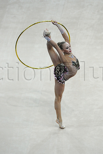 13.04.2014.  Pesaro, Italy. The FIG Rhythmic Gymnastic World Cup Series. Yana Kudyatseva wins the gold medal for the hoop apparatus final.
