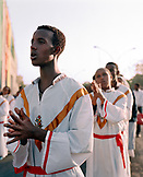 ERITREA, Asmara, Eritrean young men march during the Independence Day Celebrations, Liberation Avenue