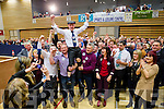 Michael Healy Rae celebrates with his supporters after being elected at the Kerry General Election Count in Killarney.