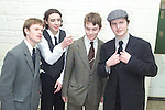 """Francis Kieran, Michael Dowling, Paul Dillon and Patrick Rooney who play """"Mick"""" on different nights in the Duleek Drama group Play..Pic Fran Caffrey Newsfile..Camera:   DCS620C.Serial #: K620C-01943.Width:    1728.Height:   1152.Date:  10/2/00.Time:   20:37:40.DCS6XX Image.FW Ver:   3.0.9.TIFF Image.Look:   Product.Antialiasing Filter:  Removed.Tagged.Counter:    [6908].Shutter:  1/60.Aperture:  f5.6.ISO Speed:  400.Max Aperture:  f3.5.Min Aperture:  f22.Focal Length:  24.Exposure Mode:  Aperture priority AE (A).Meter Mode:  Color Matrix.Drive Mode:  Continuous High (CH).Focus Mode:  Single (AF-S).Focus Point:  Center.Flash Mode:  Normal Sync.Compensation:  +1.3.Flash Compensation:  +1.3.Self Timer Time:  10s.White balance: Auto.Time: 20:37:40.412."""