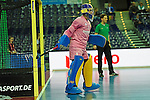 Leipzig, Germany, February 08: Niclas Franzen #1 of Sweden looks on during the placement match (5th / 6th) between Sweden (yellow) and Russia (red) on February 8, 2015 at the FIH Indoor Hockey World Cup at Arena Leipzig in Leipzig, Germany. Final score 1-3 (1-0). (Photo by Dirk Markgraf / www.265-images.com) *** Local caption ***