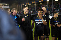 Matt Banahan of Bath Rugby speaks to his team-mates in a post-match huddle. European Rugby Champions Cup match, between Bath Rugby and RC Toulon on December 16, 2017 at the Recreation Ground in Bath, England. Photo by: Patrick Khachfe / Onside Images