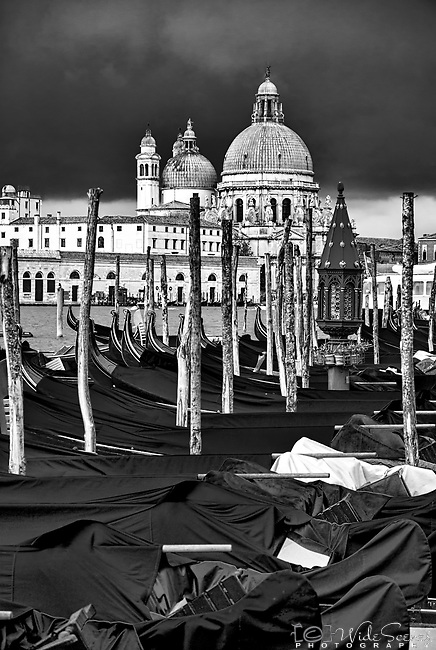 Stormy skies over Santa Maria della Salute in the sestiere of Dorsoduro in Venice, Italy.