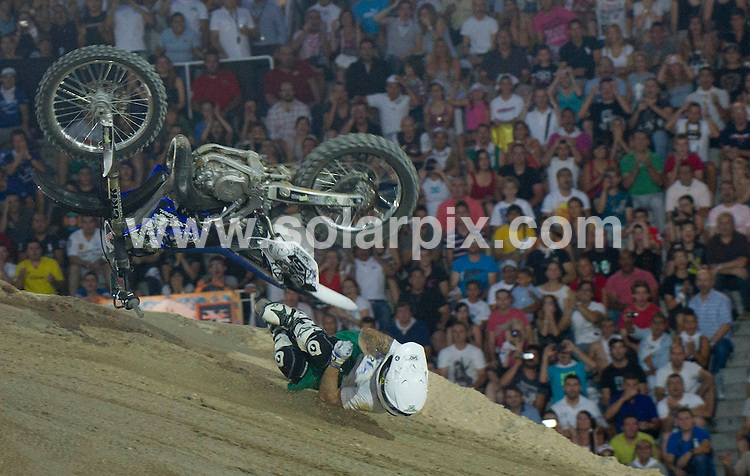 **ALL ROUND PICTURES FROM SOLARPIX.COM**                                             **WORLDWIDE SYNDICATION RIGHTS EXCEPT SPAIN - NO SYNDICATION IN SPAIN**                                                                                  Caption: Red Bull X Fighter 2011 at the Plaza de las Ventas, Madrid, Spain. 15 July 2011.This pic: Nick Franklin Crash                                            JOB REF: 13726 DMS Drake      DATE: 15_07_2011                                                           **MUST CREDIT SOLARPIX.COM OR DOUBLE FEE WILL BE CHARGED**                                                                      **MUST AGREE FEE BEFORE ONLINE USAGE**                               **CALL US ON: +34 952 811 768 or LOW RATE FROM UK 0844 617 7637**