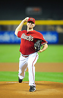 Jun. 1, 2011; Phoenix, AZ, USA; Arizona Diamondbacks pitcher Daniel Hudson throws in the first inning against the Florida Marlins at Chase Field. Mandatory Credit: Mark J. Rebilas-