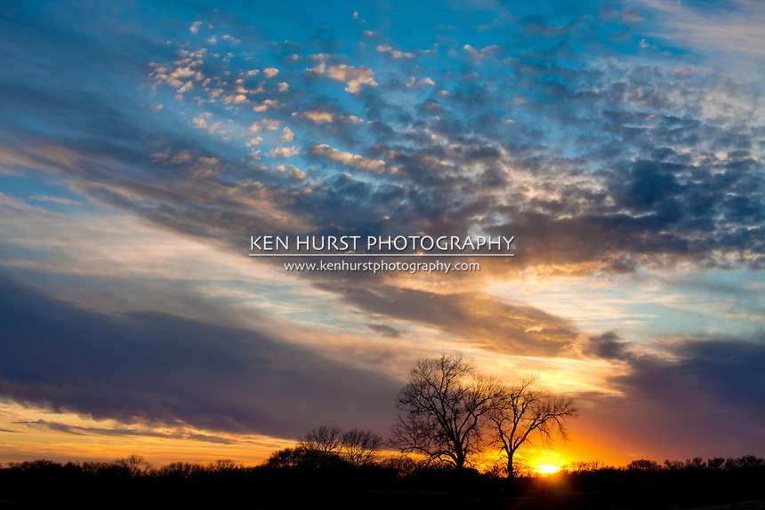 Majestic and colorful sunset from a rural Texas countryside.