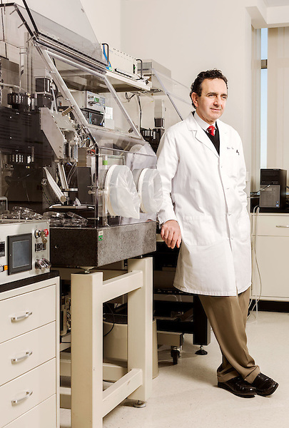 February 11, 2015. Winston Salem, North Carolina.<br />  Dr. Anthony Atala leans on one of the 3D printers used by the Wake Forest Institute for Regenerative Medicine to make body part scaffolds.<br />  Anthony Atala, M.D., is the Director of the Wake Forest Institute for Regenerative Medicine. Dr. Atala is a pioneer in the use of 3D printing in the area of regenerative medicine, focusing on growing new human cells, tissues and organs.