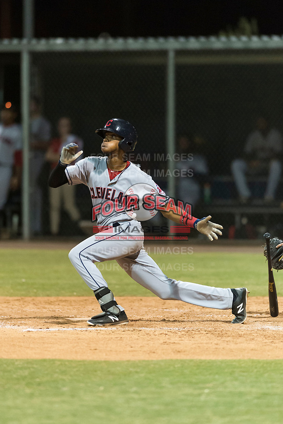 AZL Indians 2 second baseman Gionti Turner (10) releases his bat as he starts down the first base line during an Arizona League game against the AZL Cubs 2 at Sloan Park on August 2, 2018 in Mesa, Arizona. The AZL Indians 2 defeated the AZL Cubs 2 by a score of 9-8. (Zachary Lucy/Four Seam Images)