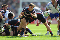 Mike Petri of USA passes during Match 6 of the Rugby World Cup 2015 between Samoa and USA - 20/09/2015 - Brighton Community Stadium, Brighton <br /> Mandatory Credit: Rob Munro/Stewart Communications