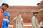 Indian men on line for the Red Fort, Old Delhi