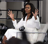 October 11, 2018  Michelle Obama at Today Show announces the Obama Foundation's Global Girls Alliance to Support Adolescent Girls Education Around the World on International Day of the Girl   at Rockefeller Center Plaza in New York October 11, 2018 Credit:RW/MediaPunch