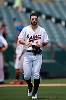 Bowie Baysox Ryan McKenna (1) in between innings during an Eastern League game against the Akron RubberDucks on May 30, 2019 at Prince George's Stadium in Bowie, Maryland.  Akron defeated Bowie 9-5.  (Mike Janes/Four Seam Images)